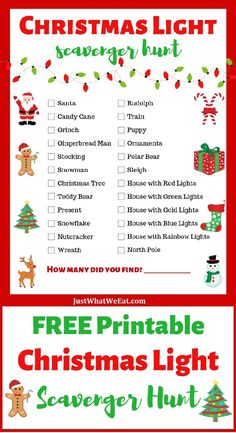 Free Printable Christmas Light Scavenger Hunt ~ Driving around to look at Christmas lights has never been so fun! Create a new family tradition with this Free Christmas Light Scavenger Hunt Printable.