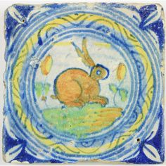 Late 16th century Dutch Delft tile with a rabbit.