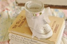 Vintage-themed baby shower decoration ideas. (I love using the baby shoe!)