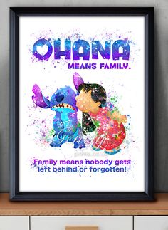 Disney Lilo and Stich Ohana Watercolor Painting Art Poster Print Wall Decor https://www.etsy.com/shop/genefyprints