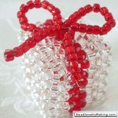 Silver Beaded Box - Bead Jewelry Making PATTERN click on learn how link for pattern