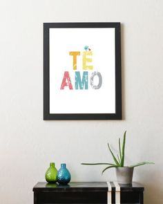 TE AMO Childrens Wall Art 11x14 Poster ( I Love You in Spanish). $28.00, via Etsy.