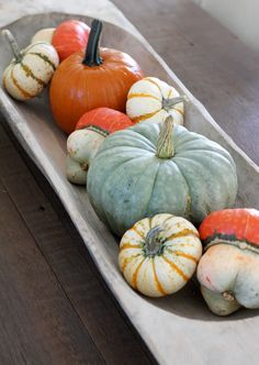 Vintage bread dough bowl filled with pumpkins and gourdes, dining room table centerpiece. (fall decoration)