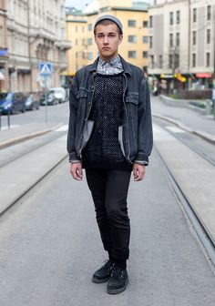 "Eetu  ""I'm wearing a Laitinen dress shirt, a Levi's jacket, a Gina Tricot mesh shirt, customized jeans and Creepers shoes.  90s movies inspire me."""