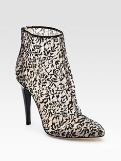 Bottega Veneta Lace and Patent Leather Ankle Boots