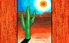 Cactus Landscape online art lesson by Easy Peasy Art School. Learn the basics of how to use oil pastels and landscape drawing.