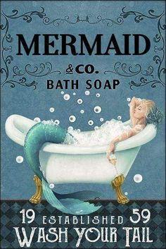 Vintage Mermaid, Mermaid Art, Mermaid Poster, Mermaid Prints, Mermaid Quotes, Creepy, Family Canvas, Mermaids And Mermen, Bath Soap