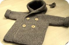 Ravelry: Lino's Coat FREE knitting pattern by Lili Comme Tout - hooded baby jacket in garter stitch (hva) Knitting For Kids, Baby Knitting Patterns, Knitting Stitches, Baby Patterns, Free Knitting, Knitting Yarn, Crochet Baby, Knit Crochet, Blanket Crochet