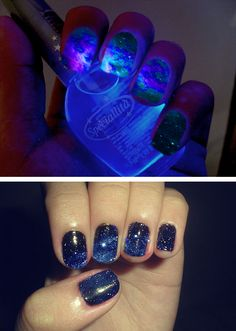 Funny pictures about Space nails. Oh, and cool pics about Space nails. Also, Space nails photos. Love Nails, How To Do Nails, Fun Nails, Pretty Nails, Crazy Nails, Nail Art Designs, Nails Design, Space Nails, Uñas Fashion