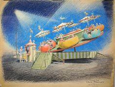 Bruce Bushman 1960 concept drawings for David Bradley's Beverly Park & Playland (at Beverly Blvd. & La Cienega)