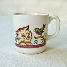 Vintage Norway Stavangerflint Cup Mug Pottery Cat by RattyAndCatty