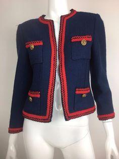 Vintage CHANEL Creations Red Navy Blue Collarless Cropped Jacket Blazer Sz 8 | eBay