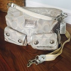 Silver Coach bag {Poppy Edition} Gently worn a handful of times. In great {like new} condition!! Coach Bags Shoulder Bags