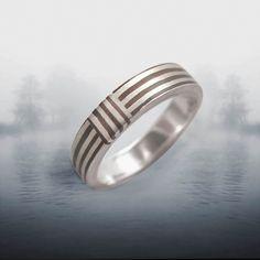 Orbit Striped3- 4mm Mokume Gane Ring. $70.00, via Etsy.