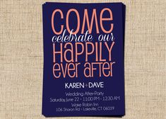 After Party/Couple's Shower Invitation (Come Celebrate Our Happily Ever After) Printable After-Party/Couple's Shower Party Invitation