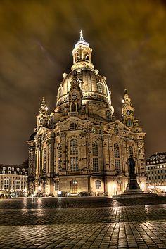 Frauenkirche de Dresde, temple luthérien, œuvre de l'architecte George Bähr 1743 #Voyage #Tourisme