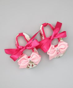 Pink Floral Crystal Bow Booties | Daily deals for moms, babies and kids