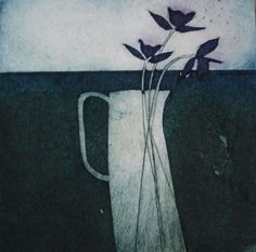 Carol Edgar - Artist / Printmaker Title: Jug and Flowers Collograph Edition of 50 Size (hxw): 15 x 15 cm