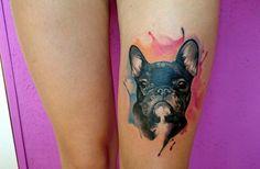 Badass Tattoos, Dog Tattoos, Animal Tattoos, Cute Tattoos, French Bulldog Tattoo, French Tattoo, Ruby Tattoo, I Tattoo, Dog Portrait Tattoo