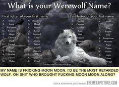 My werewolf name is magic rain. What is your Werewolf Name?>>>> you've gotta be fuckin kiddin me I got moon moon Moon Moon, Dark Moon, Full Moon, Werewolf Name Generator, Dragon Names Generator, Magic Creatures, Birthday Scenario, Fantasy Names, Fantasy Wolf