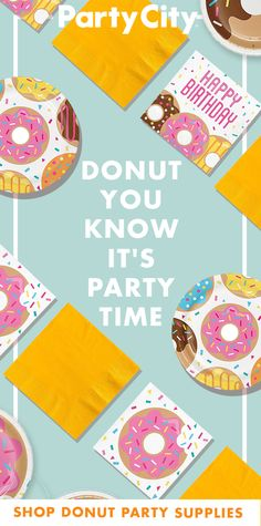 Add some sprinkles to this year's birthday! Shop Party City for donut themed p. Add some sprinkles to this year's birt. Golden Birthday Parties, 7th Birthday Party Ideas, 1st Birthday Themes, Donut Birthday Parties, 11th Birthday, Donut Party Supplies, Grown Up Parties, Sprinkles, First Birthdays