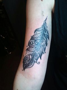 Feather tattoo- My favourite tattoo so far! Created and tattooed by Josie from Shaded Lady in Falmouth, Cornwall, England.
