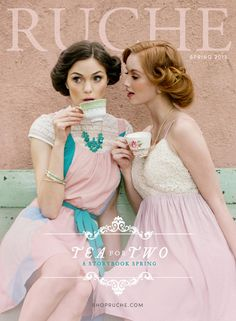 "Tea for Two - Ruche Spring Lookbook  ""Tea for Two"" - A Storybook of Spring (Ruche Spring Lookbook 2013) In addition to floral dresses and lacey pastels, the spring season wouldn't be complete without the enchantment of tea parties and make-believe! Take a peek at our lookbook, Tea for Two, to discover a delightful collection of vintage inspired clothing to help you create the fashionable spring wardrobe of your dreams.  Wardrobe: Ruche (http://shopruche.com) Photography: Stephanie Williams…"