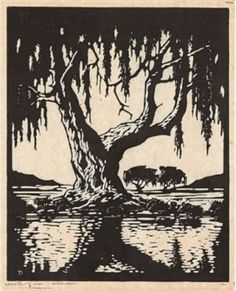 "JH Pierneef (SA 1886 - 2 x Photo-Linocut, ""Willow in Winter"" & ""Wilgesboom in Sommer"", Signed in the Plate, 38 x 29 each. South African Artists, Soul Art, Encaustic Art, Fine Art Auctions, Linocut Prints, Lovers Art, Vintage Art, Printmaking, Art Projects"