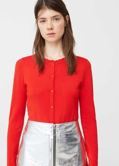 6cd1921d513803  40 Bright Red Mango Scalloped Edges Cardigan With Silver Metallic High  Waisted Zip Up A-Line Mini Skirt – Looks Magazine ...
