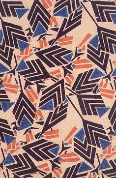Textile design by Josef Hoffmann (1870-1956), ca. 1920, Wiener Werkstätte.
