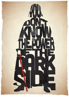 Star Wars Darth Vader typography print based on a quote from the movie Return Of The Jedi. £30,00, via Etsy.
