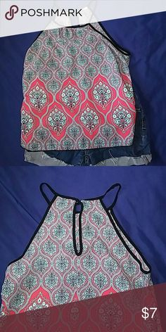 Beautiful Paisley Summer Tank Flowy high neck tank. Cute detailed eyelet opening in the back.  100%polyester Olive Tree Tops Tank Tops