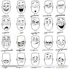 эмоции на лицах рисунки - Pesquisa Google