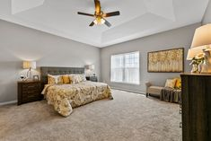 This new construction ranch-style home in Columbia, IL is perfect for young couples or empty-nesters. Home Staging Companies, Young Couples, Ranch Style, New Construction, St Louis, Empty, Columbia, Bed, Room