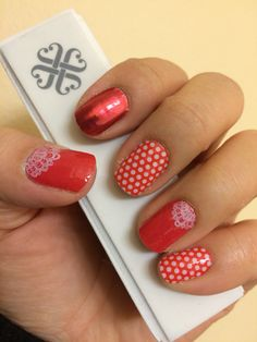 Fire Engine, Fire Engine Glimmer, Touch of Lace, and Poppy and White Polka Jamberry Nail Wraps! Check them out at MarySeto.JamberryNails.net!