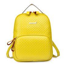 2015 primera marca con mujeres mochila de estilo Simple de cuero genuino mochila escolar amarillo para las niñas de viaje de gran capacidad(China (Mainland))