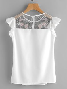 SheIn offers Flower Patched Dot Mesh Yoke Frill Cap Sleeve Top & more to fit your fashionable needs. Sewing Blouses, Girl Fashion, Fashion Outfits, Cap Sleeve Top, Cap Sleeves, Short Tops, Mode Outfits, Mode Style, Cute Tops