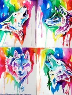 Rainbow Wolf Santa Giveaway Batch by on deviantART. we should get wolf tattoos like these =P Wolf Tattoos, Tribal Wolf Tattoo, Anime Wolf, Fantasy Kunst, Fantasy Art, Animal Drawings, Art Drawings, Wolf Deviantart, Watercolor Wolf