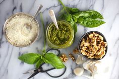 Basil Pesto with Walnuts and Pecorino