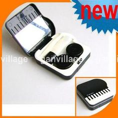New Fancy Piano Style Compact Contact Lenses Case Care Box Set Black with Mirror   eBay