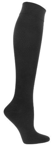Compression Socks | Womens Black Compression Stockings (Sock size 9-11, Ladies shoe sizes 4-11, Men shoe sizes 5-9) Sugar Free Sox. $18.00. Includes single pair of Sugar Free Sox Ladies Black Compression Socks. Ideal for travel, varicose veins, jobs that require long periods of standing, plantar fasciitis. 20 mmHg compression, Over the calf length, Fits Ladies Shoe Sizes 4-10. Save 67%!