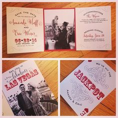 Lucky in love!! Trifold Las #Vegas #wedding save the dates, we LOVE I Custom by Nico and Lala