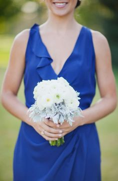 Bridesmaid in blue Photography By / meganrobinsonblog.com, Floral Design By / fleurtationsfloral.com