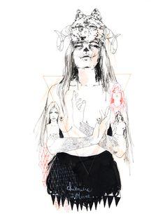 Aara by Charmaine Olivia #art #illustration #drawing #horns #wolf #tattoo #triangle #headdress