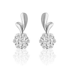 92.5 Sterling Silver Forget Me Not Swarovski Zirconia Earrings from Elysia Collection by Mahi