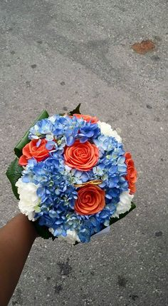 Blue an orange fresh floral bridal bouquet with hydrangeas, carnations, roses and greenery designed by Yvana's Decor. Outdoor Bridal Showers, Simple Bridal Shower, Bridal Shower Signs, Hydrangea Bridal Bouquet, Bridal Bouquet Fall, Bridal Shower Centerpieces, Bridal Gifts, Design Design, Floral Design