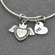 Heart Bangle, Sterling Silver Bangle, Heart Bracelet, Expandable Bangle, Personalized Bracelet, Charm Bangle, Initial Bracelet, Monogram by BangleLand on Etsy