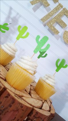 GREEN Ombre Cactus Cupcake Toppers > Fiesta Party > Cinco De Mayo > Final Fiesta Bachelorette Party > Engagement Party > Birthday by eventprint on Etsy