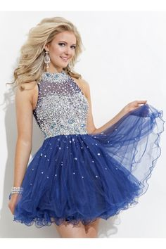2015 High Neck Tulle Homecoming Dresses A-Line Short/Mini Beaded Bodice - Homecoming Dresses $159.99