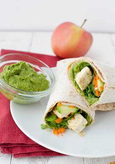White Bean & Basil Hummus - Delish Knowledge Basil Hummus, Spicy Hummus, Tofu Wraps, Hummus Wrap, Wrap Recipes, Quick Meals, Spinach, Delish, Veggies